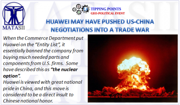 HUAWEI MAY HAVE PUSHED US-CHINA NEGOTIATIONS INTO A TRADE WAR